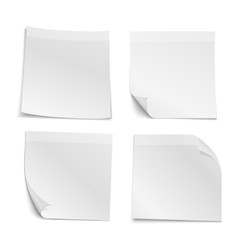White blank stick note papers collection vector image