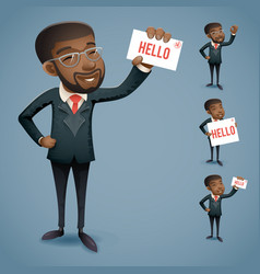 cartoon afro american icons set african european vector image