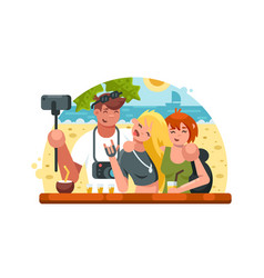 company of friends making selfies vector image