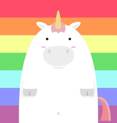 cute fat big unicorn vector image vector image