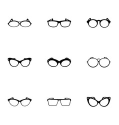 eyeglasses icons set simple style vector image