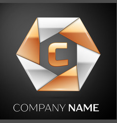 letter c logo symbol in the colorful hexagon on vector image vector image