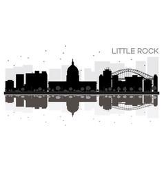 little rock city skyline black and white vector image