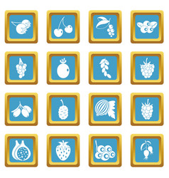 berries icons azure vector image