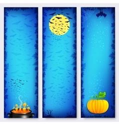 Blue Halloween banners backgrounds set vector image