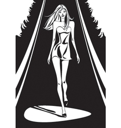 Fashion show in black and white vector image vector image