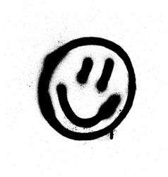 graffiti smiling face emoticon in black on white vector image