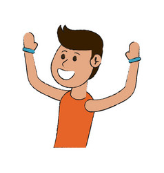 Happy man smiling wearing sleeveless shirt with vector