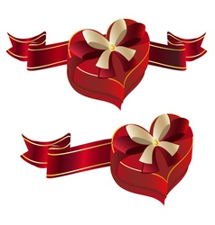 Heart Shaped Box with Ribbon vector image