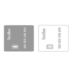 Inserting credit card grey set icon vector