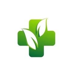 medicine pharmacy health logo medical herbal plus vector image vector image