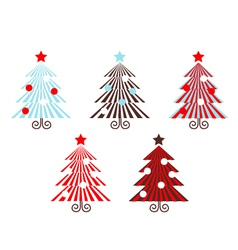retro trees collection vector image vector image