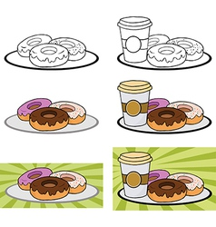 Donuts and coffee vector image