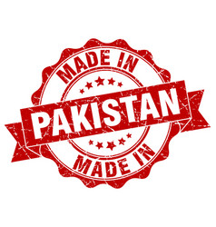 made in pakistan round seal vector image vector image