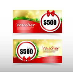 010 Christmas gift voucher card template with red vector