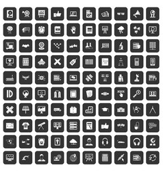100 education technology icons set black vector
