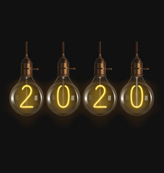 2020 glowing numbers inside filament bulbs vector image