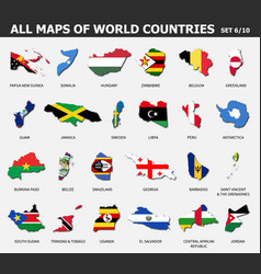 all maps world countries and flags set 6 vector image