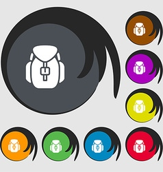 Backpack icon sign Symbols on eight colored vector