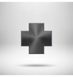 Black Abstract Cross Button Template vector