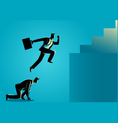 businessman using his friend as a stepping stone vector image