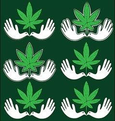 cannabis marijuana leaf peaceful dove symbol vector image
