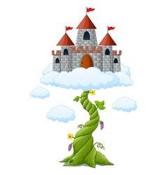 Cartoon bean sprout with castle in the clouds vector