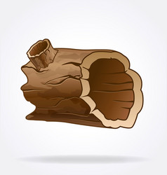 Cartoon hollow wood log vector