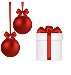 christmas gift with christmas red balls in bows vector image