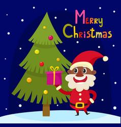christmas greeting card with cartoon african santa vector image