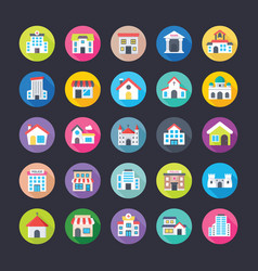 Colourful flat icons set of buildings vector