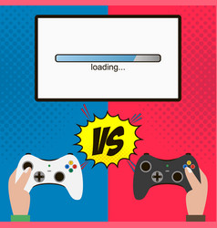 competition in the video game hands hold gamepad vector image