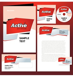 Corporate identity template design active abstract vector