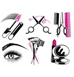 cosmetics and fashion symbols vector image