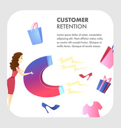 Customer retention website color template vector