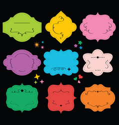 Cute empty colorful and vintage blank emblems set vector