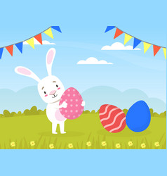 cute white rabbit with colorful easter eggs on vector image