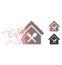 Disappearing pixel halftone food court icon vector
