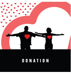 Donation with heart and couple in color vector