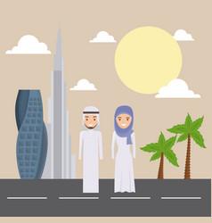 Dubai city modern building cityscape skyline with vector