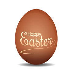 Easter egg with holiday lettering happy easter vector