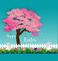 easter eggs and rabbits in the garden with sakura vector image