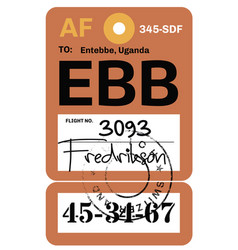 Entebbe airport luggage tag vector