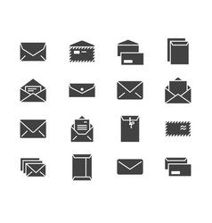 envelopes flat glyph icons mail message open vector image