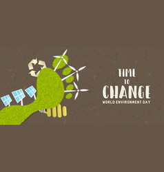 environment day banner green carbon footprint vector image