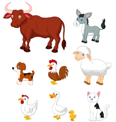 Farm animal collection set vector image
