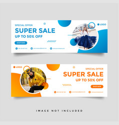 Fashion sale facebook cover banner template vector