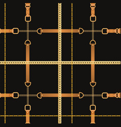 Fashion seamless pattern with chains and straps vector