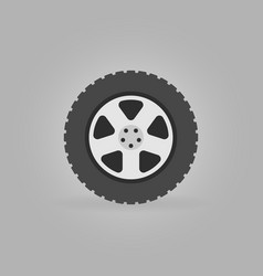 Flat car wheel tire icon on gray background vector