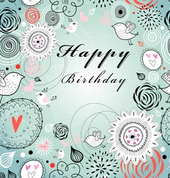 Floral greeting card for birthday vector